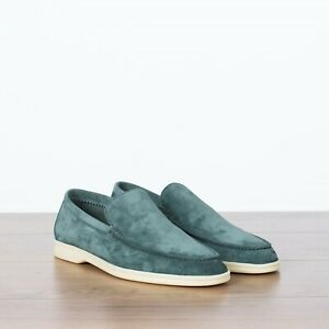 LORO PIANA 825$ NEW Summer Walk Moccasin In Blue Eucalyptus Suede Calfskin