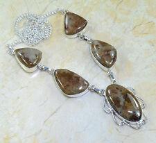 "Handmade Arizona Petrified Wood 925 Sterling Silver Necklace 19.5"" #X16118"