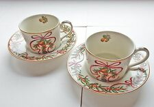 Christmas CUP & SAUCER (2) Partridge in a Pear Tree - JAPAN Queensberry NEW