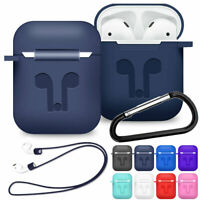 For AirPods 2nd Generation 2019 Silicone Protective Case Cover Skin with Strap