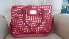 MIchael Kors Hamilton red leather grommet studs satchel handbag bag