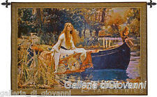 "Lady Of Shalott 40""x 31"" Wall Tapestry + FREE Rod Art  Medieval Old World Castle"