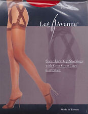 LEG AVENUE - Sexy Crisscross Sheer Leg Suspender Tights RED - One Size  BNIP