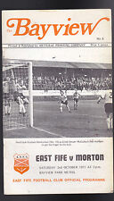 The Bayview- Morton v East Fife Football Club Programme- October 2 1971