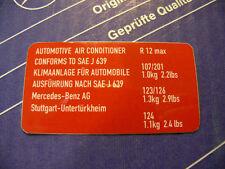 Original Mercedes Klimaanlagen-Aufkleber für R12 für W123, W126, W124, W201
