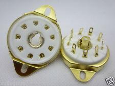 2pc gold plated B9G 9pin tube socket for EL60 EC52 EF50 KT67 TT12 QE10