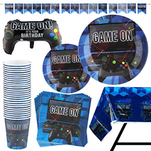 83 Piece Video Gaming Party Supplies Set Including Banner, Plates, Cups, X-Large