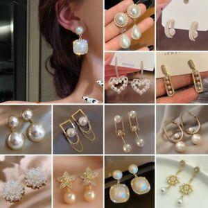 Fashion Pearl Zircon Ear Stud Earrings Drop Dangle Women Wedding Jewelry Gifts