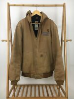 Carhartt Men's Quilt Lined Brown Active Hooded Full Zip Jacket J130BRN Sz L Tall