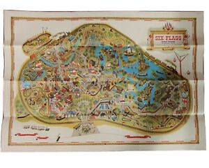 """Vintage 1965 Souvenir MAP SIX FLAGS over TEXAS Park 30"""" x 21"""" POSTER"""