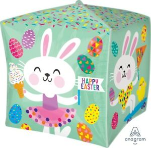 """NEW Happy Easter Characters Cubez Foil Balloon 15x15""""  36981"""