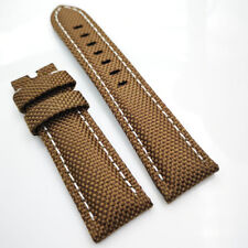 22mm Brown Canvas Genuine Leather White Stitch PAM Strap for RADIOMIR LUMINOR