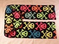 Skulls Neon Multicolor on Black Fleece Scarf