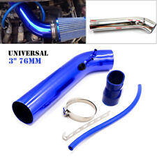 "Blue 3"" 76mm Air Intake Pipe Kit Cold Air Intake Aluminum Pipe Air Filter Pipe"