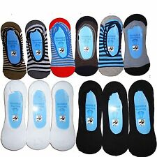 Invisible Trainer Loafer Cotton Rich Summer Socks Mens BLK & White 6 Pairs Black