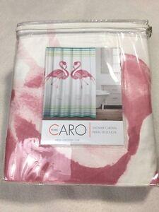 NEW Caro Home Flamingo Stripe Shower Curtain Coastal Bathroom Decor