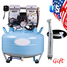 Medical Dental Air Compressor Noiseless Oilless Quiet f/ Chair + LED Handpiece