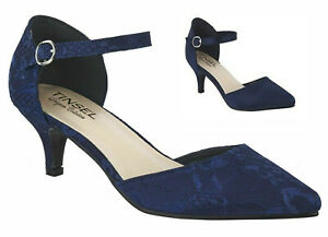 LADIES NAVY BLUE SATIN OR LACE MID HEEL POINTED TOE ANKLE STRAP MARY JANE SHOES