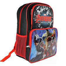 "THE AVENGERS IRON MAN HULK THOR 16"" Backpack Kids Boys School Book Bag Black NEW"
