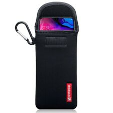 Samsung Galaxy A70 Shocksock Neoprene Soft Pouch Case with Carabiner in Black