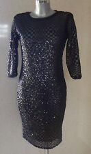 TFNC Paris Stunning Black Sequin Dress UK Size 12 NEW