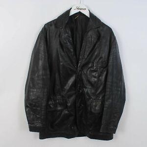 Vintage 80s/90s Genuine Leather Jacket Black Overcoat Size Small S   Retro