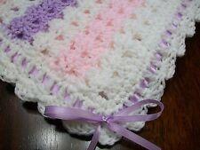 NEW Handmade Crochet Baby Blanket Afghan ( pink white purple )