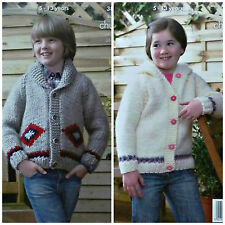 KNITTING PATTERN Childrens Roll Collar and Hooded Jackets Super Chunky KC 3821