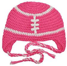 Crochet Football Tassel Beanie Hat - Hot Pink