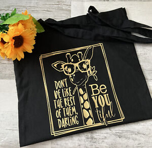 Beautiful Black Cotton Tote shopping bag With Hand Crafted Gold Giraffe Design