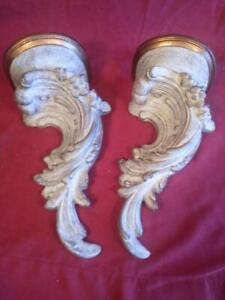 Pair of Two 2 Decorative Wall Scrolly Bracket Shelf Shelves French Rococo Style