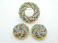 VTG SARAH COVENTRY Red Blue Rhinestone Cabochon Swirl Brooch Pin Earrings Set