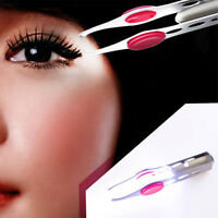Stainless Steel Make Up Eyelash Eyebrow Hair Removal Tweezer With LED Light New