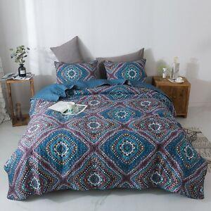 DaDa Bedding Bohemian Native Rustic Navy Blue Geometric Diamond Bedspread Set