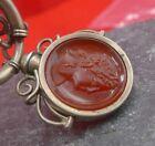 Antike Taschenuhren Kette mit Karneol-Kamee Petschaft in Stahl