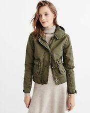 NWT Abercrombie & Fitch Womens Hooded Twill Jacket Coat Size Large Olive