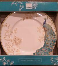 222 Fifth Peacock Garden Dinner Plates Set of 4 Porcelain Blue White