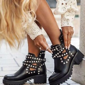 WOMENS LADIES ANKLE BUCKLE CUT OUT STUDS CHELSEA PLATFORM HEEL SUMMER BOOTS SIZE