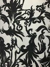 Haute Black Floral Embroidered Lace Embedded Stone High Fashion Fabric - BTY