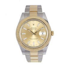 Solid Gold Strap Round 100 m (10 ATM) Wristwatches