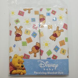 Disney Winnie The Pooh Receiving Blankets Two Pack ABCs vintage duo
