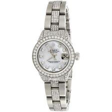 Женские бриллиант Rolex 6917 Datejust белого тканевого круга циферблат наручные часы устричный пользовательский диапазон 5 кар
