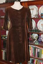 Vintage 1950's Brown Velvet Coat Dress Large Buttons