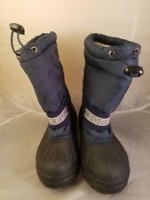 Sorel Boys Blue Black Winter Boots Snow Chariot Style #LY/1650 Removable Liners