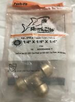 """Sharkbite 1/4"""" x 1/4"""" x 1/4"""" (Push-Fit) Push to Connect Lead-Free Brass Tee"""