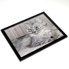 Mantel Individual De Cristal 20x25 Cm-hermoso gato gatito animales Gafas #8525