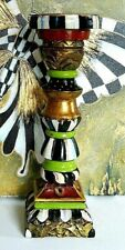 Wooden Pillar Candle Holder Large Hand Painted  inspired by Mackenzie Childs