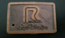 Vintage Roadway Safe Worker belt buckle Trucking Safety Awards