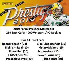 2019 PANINI PRESTIGE FOOTBALL MASTER SET - BASE SET (NO SSP) + 10 INSERT SETS