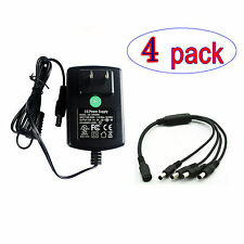 4Pk DC 12V2A Power Supply Adapter 4 Splitter Power Cable F. DVR Camera Led Strip